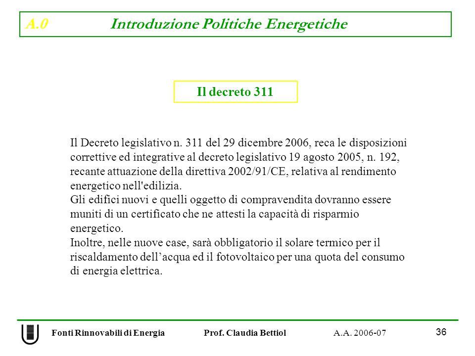 A.0 Introduzione Politiche Energetiche 36 Fonti Rinnovabili di Energia Prof.
