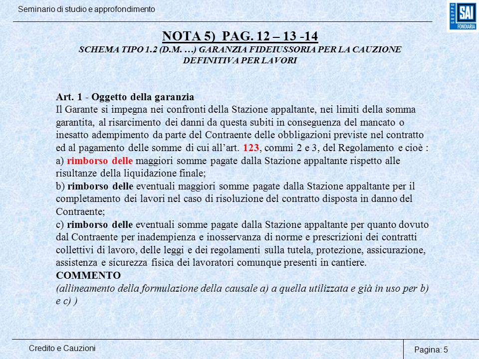 Pagina: 5 Credito e Cauzioni Seminario di studio e approfondimento NOTA 5) PAG. 12 – 13 -14 SCHEMA TIPO 1.2 (D.M. …) GARANZIA FIDEIUSSORIA PER LA CAUZ
