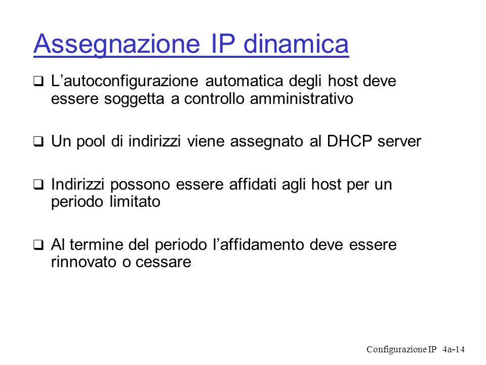 Configurazione IP4a-14 Assegnazione IP dinamica  L'autoconfigurazione automatica degli host deve essere soggetta a controllo amministrativo  Un pool di indirizzi viene assegnato al DHCP server  Indirizzi possono essere affidati agli host per un periodo limitato  Al termine del periodo l'affidamento deve essere rinnovato o cessare