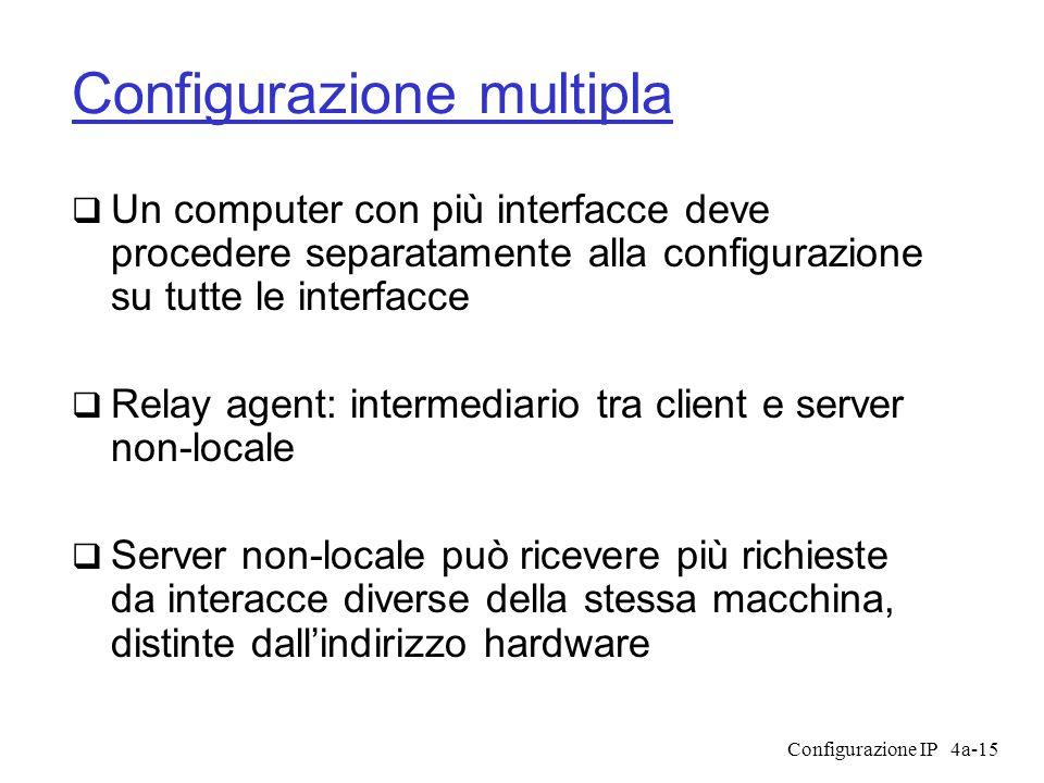 Configurazione IP4a-15 Configurazione multipla  Un computer con più interfacce deve procedere separatamente alla configurazione su tutte le interfacce  Relay agent: intermediario tra client e server non-locale  Server non-locale può ricevere più richieste da interacce diverse della stessa macchina, distinte dall'indirizzo hardware