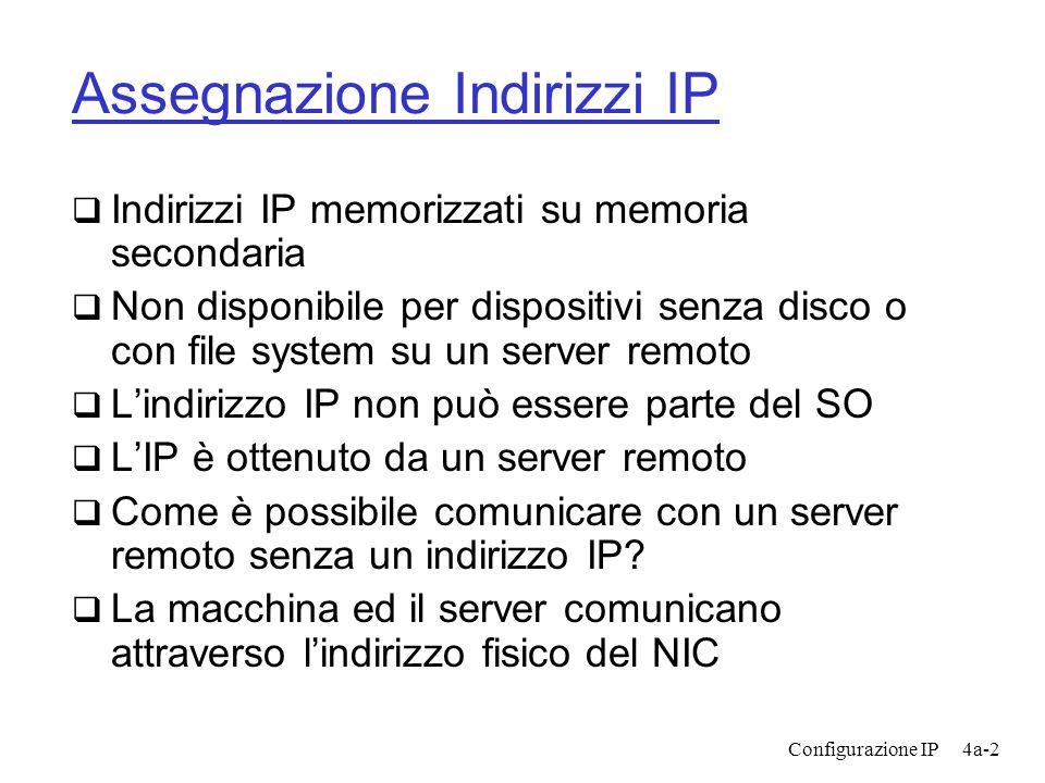 Configurazione IP4a-2 Assegnazione Indirizzi IP  Indirizzi IP memorizzati su memoria secondaria  Non disponibile per dispositivi senza disco o con file system su un server remoto  L'indirizzo IP non può essere parte del SO  L'IP è ottenuto da un server remoto  Come è possibile comunicare con un server remoto senza un indirizzo IP.