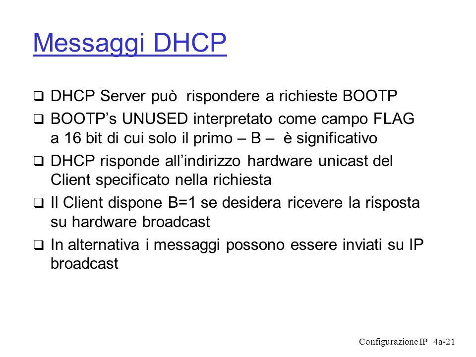 Configurazione IP4a-21 Messaggi DHCP  DHCP Server può rispondere a richieste BOOTP  BOOTP's UNUSED interpretato come campo FLAG a 16 bit di cui solo il primo – B – è significativo  DHCP risponde all'indirizzo hardware unicast del Client specificato nella richiesta  Il Client dispone B=1 se desidera ricevere la risposta su hardware broadcast  In alternativa i messaggi possono essere inviati su IP broadcast