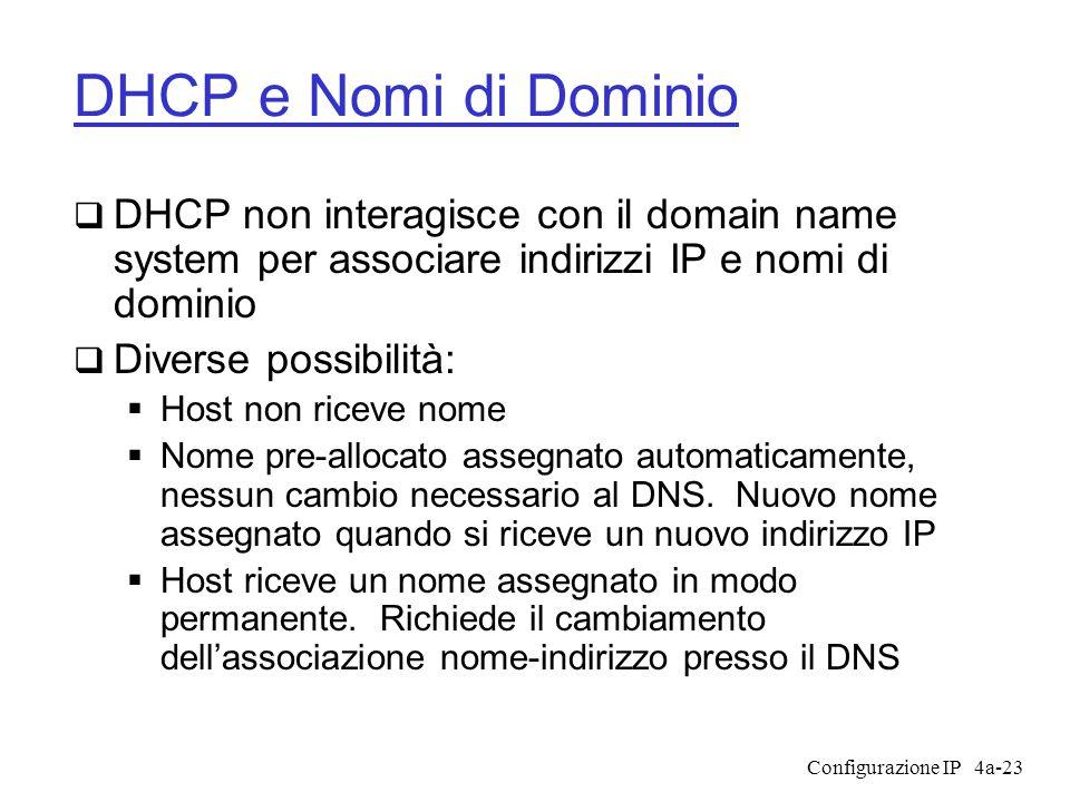 Configurazione IP4a-23 DHCP e Nomi di Dominio  DHCP non interagisce con il domain name system per associare indirizzi IP e nomi di dominio  Diverse possibilità:  Host non riceve nome  Nome pre-allocato assegnato automaticamente, nessun cambio necessario al DNS.