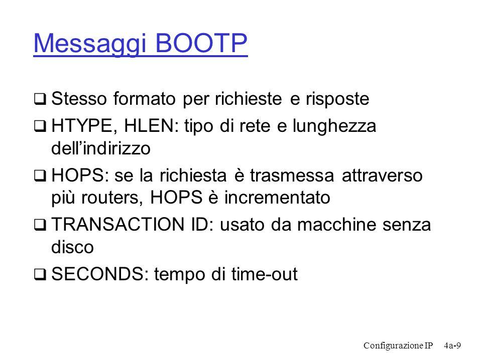Configurazione IP4a-9 Messaggi BOOTP  Stesso formato per richieste e risposte  HTYPE, HLEN: tipo di rete e lunghezza dell'indirizzo  HOPS: se la richiesta è trasmessa attraverso più routers, HOPS è incrementato  TRANSACTION ID: usato da macchine senza disco  SECONDS: tempo di time-out