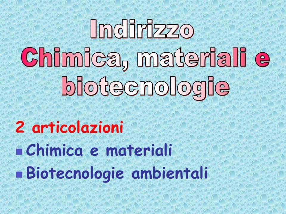 2 articolazioni Chimica e materiali Biotecnologie ambientali