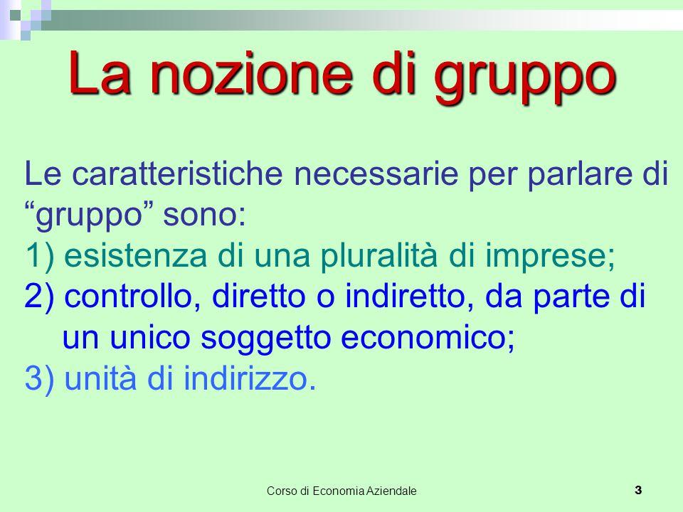 """Corso di Economia Aziendale3 La nozione di gruppo Le caratteristiche necessarie per parlare di """"gruppo"""" sono: 1) esistenza di una pluralità di imprese"""