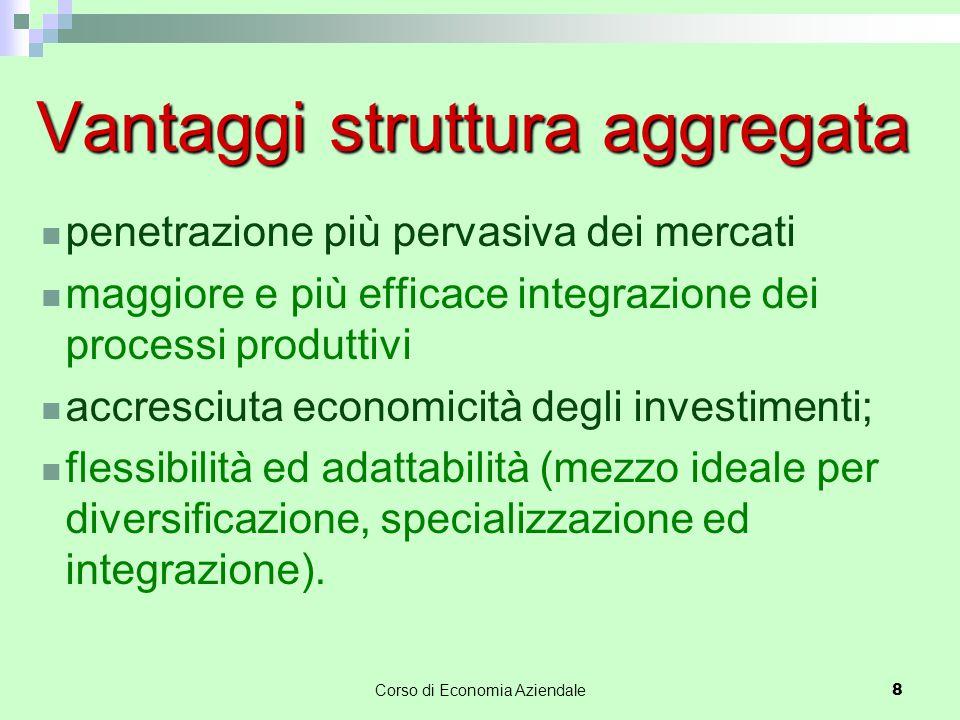 Corso di Economia Aziendale8 Vantaggi struttura aggregata penetrazione più pervasiva dei mercati maggiore e più efficace integrazione dei processi pro