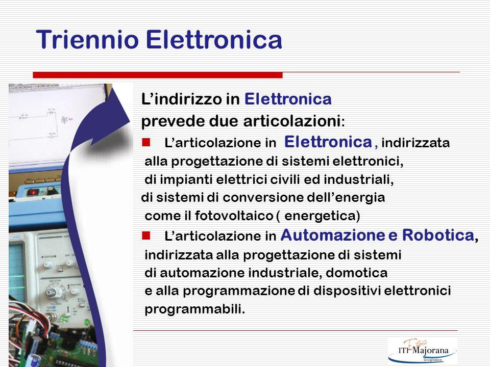 Città di Grugliasco Triennio Elettronica L'indirizzo in Elettronica prevede due articolazioni : L'articolazione in Elettronica, indirizzata alla progettazione di sistemi elettronici, di impianti elettrici civili ed industriali, di sistemi di conversione dell'energia come il fotovoltaico ( energetica) L'articolazione in Automazione e Robotica, indirizzata alla progettazione di sistemi di automazione industriale, domotica e alla programmazione di dispositivi elettronici programmabili.