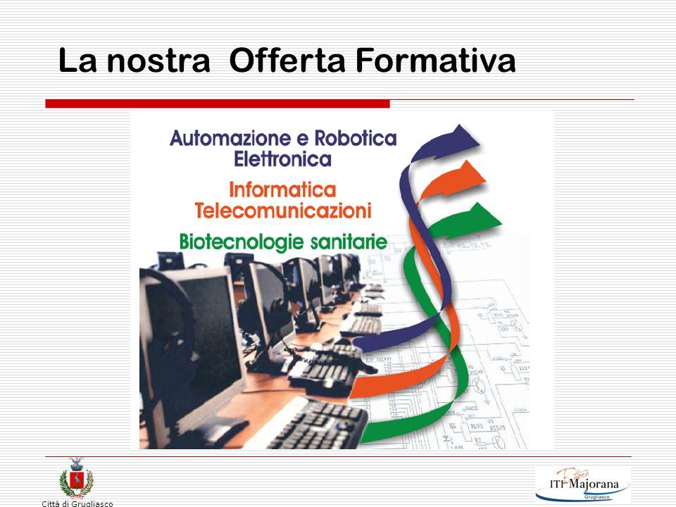 Città di Grugliasco Offerta formativa  Biennio  Triennio di specializzazione ( INDIRIZZO ) Elettronica ed elettrotecnica  Elettronica ( Energetica)  Automazione (Robotica) Informatica e telecomunicazioni  Informatica  Telecomunicazioni Chimica, Materiali e biotecnologie  Sanitarie