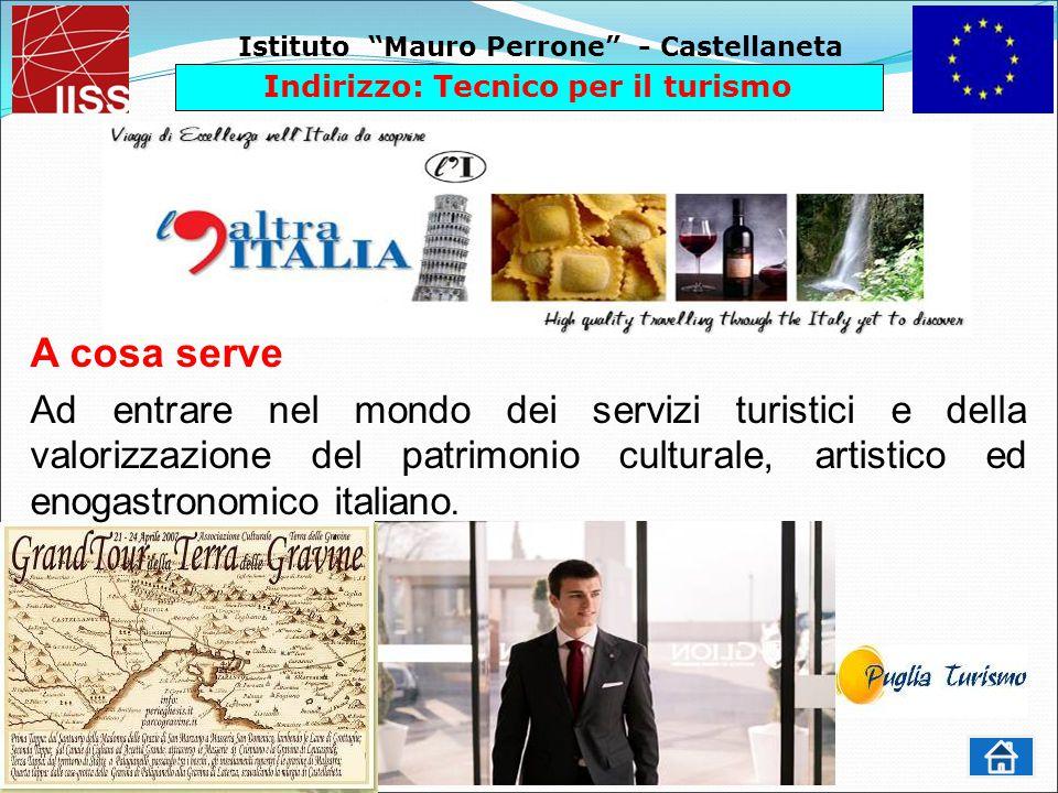 Istituto Mauro Perrone - Castellaneta Indirizzo: Tecnico per il turismo A cosa serve Ad entrare nel mondo dei servizi turistici e della valorizzazione del patrimonio culturale, artistico ed enogastronomico italiano.