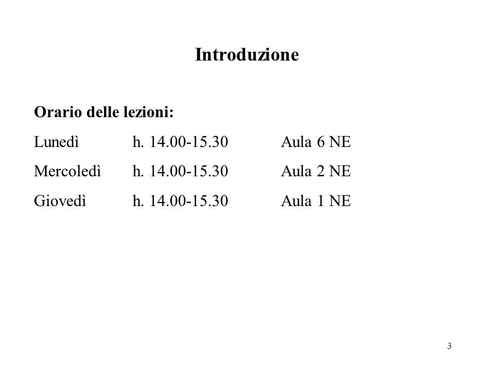 3 Introduzione Orario delle lezioni: Lunedì h. 14.00-15.30Aula 6 NE Mercoledìh.