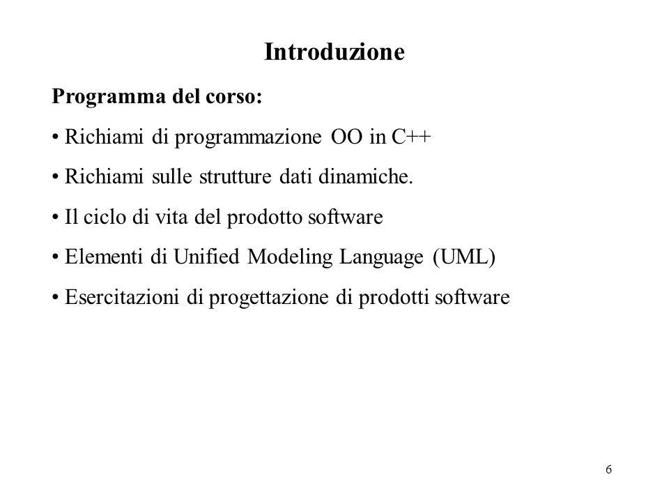 6 Introduzione Programma del corso: Richiami di programmazione OO in C++ Richiami sulle strutture dati dinamiche.
