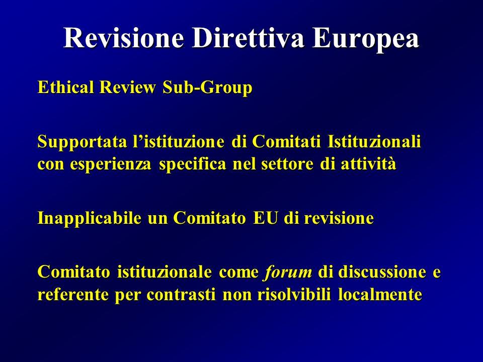 Revisione Direttiva Europea Ethical Review Sub-Group Supportata l'istituzione di Comitati Istituzionali con esperienza specifica nel settore di attività Inapplicabile un Comitato EU di revisione Comitato istituzionale come forum di discussione e referente per contrasti non risolvibili localmente