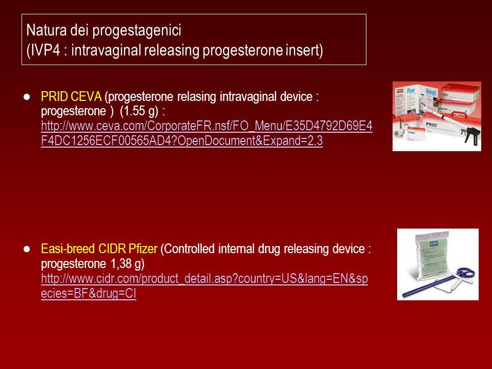 Natura dei progestagenici (IVP4 : intravaginal releasing progesterone insert) ● PRID CEVA (progesterone relasing intravaginal device : progesterone )