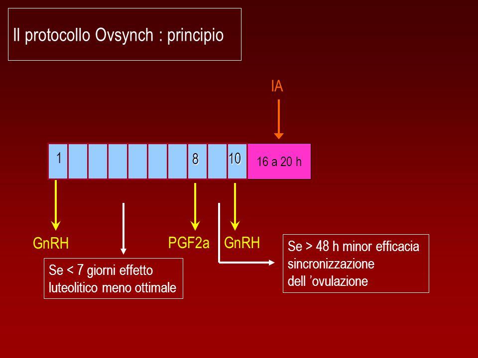 Il protocollo Ovsynch : principio 16 a 20 h GnRH 1 8 10 PGF2a IA Se < 7 giorni effetto luteolitico meno ottimale Se > 48 h minor efficacia sincronizza