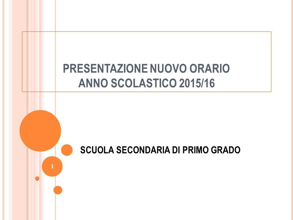 PRESENTAZIONE NUOVO ORARIO ANNO SCOLASTICO 2015/16 SCUOLA SECONDARIA DI PRIMO GRADO 1