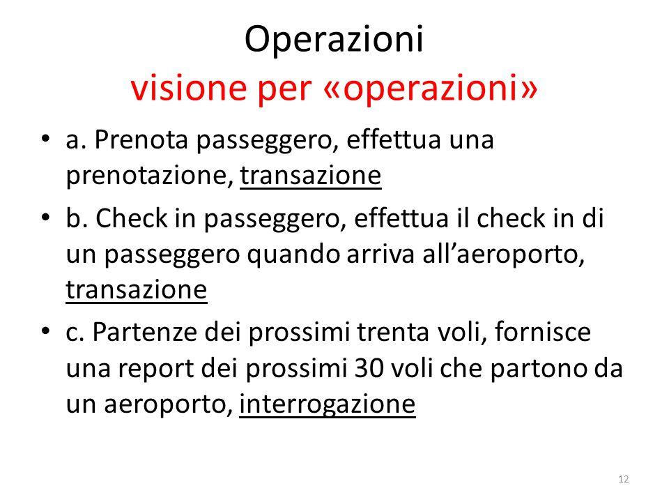 12 Operazioni visione per «operazioni» a. Prenota passeggero, effettua una prenotazione, transazione b. Check in passeggero, effettua il check in di u