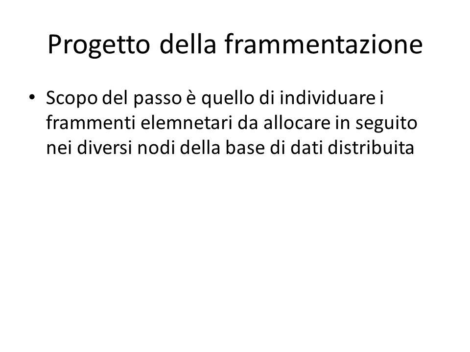 Progetto della frammentazione Scopo del passo è quello di individuare i frammenti elemnetari da allocare in seguito nei diversi nodi della base di dati distribuita