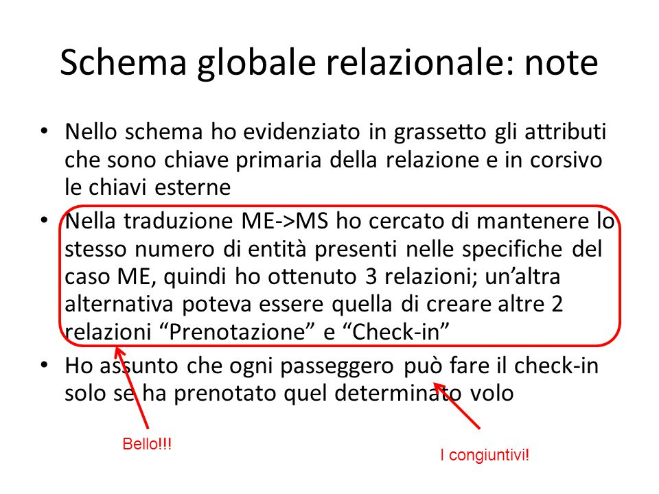 Schema globale relazionale: note Nello schema ho evidenziato in grassetto gli attributi che sono chiave primaria della relazione e in corsivo le chiav