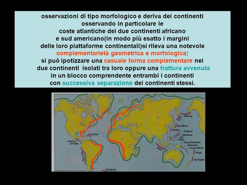 osservazioni di tipo morfologico e deriva dei continenti osservando in particolare le coste atlantiche dei due continenti africano e sud americano(in