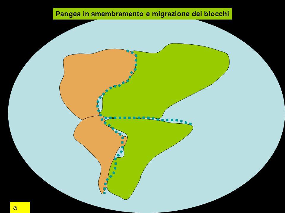 Pangea in smembramento e migrazione dei blocchi a