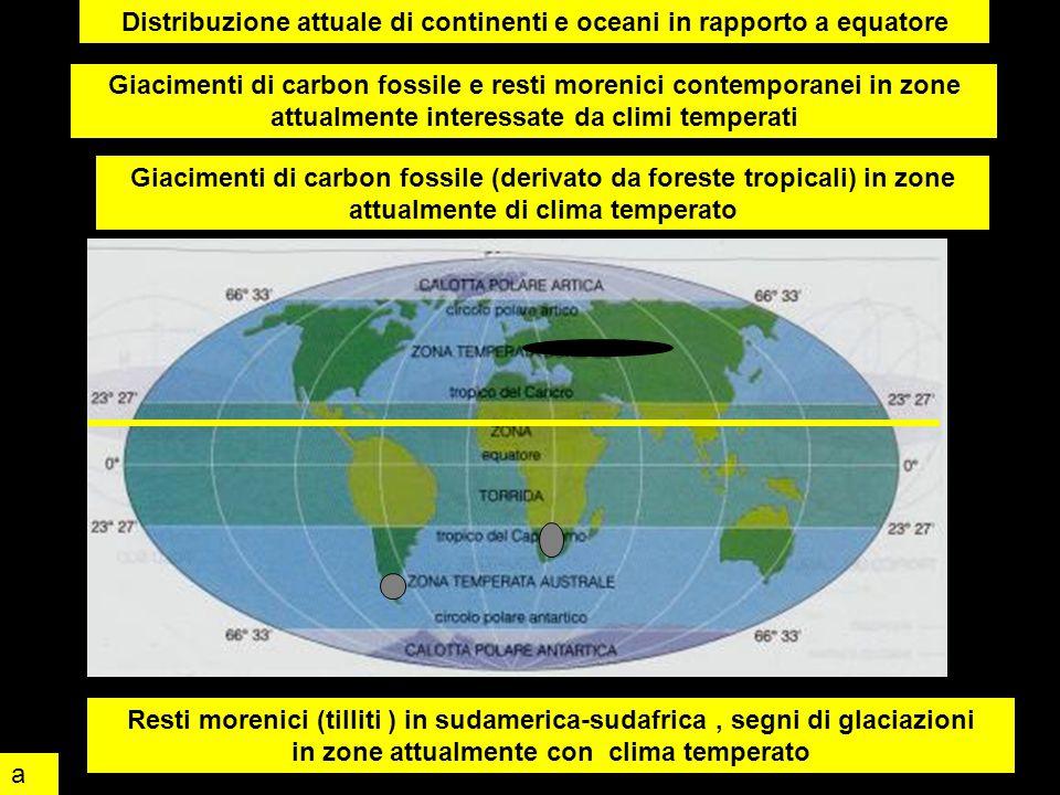Distribuzione attuale di continenti e oceani in rapporto a equatore Giacimenti di carbon fossile (derivato da foreste tropicali) in zone attualmente d