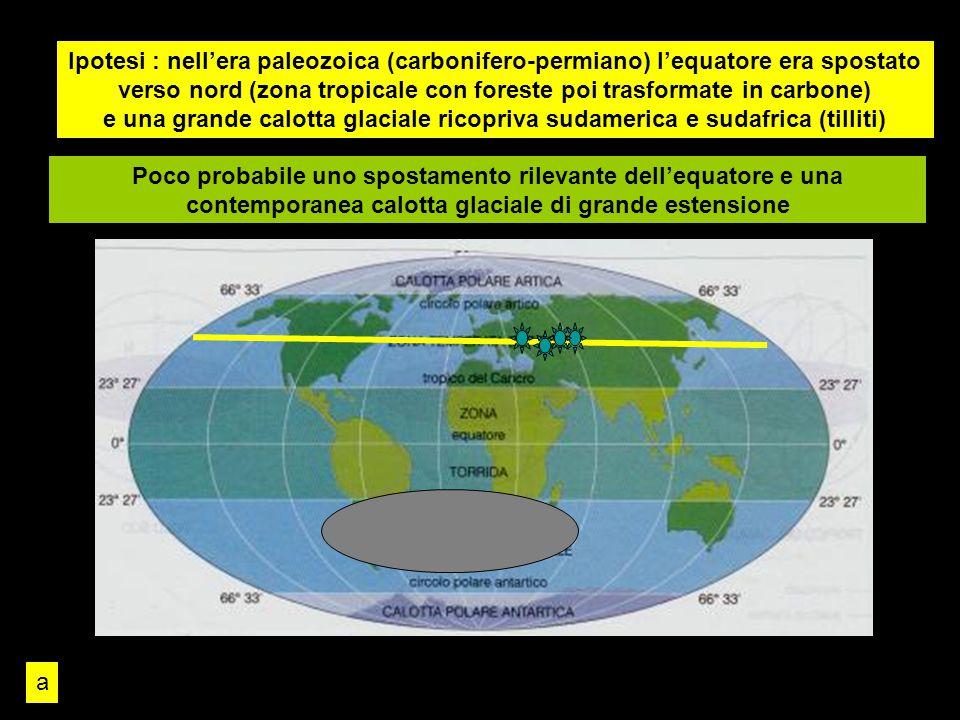 Ipotesi : nell'era paleozoica (carbonifero-permiano) l'equatore era spostato verso nord (zona tropicale con foreste poi trasformate in carbone) e una