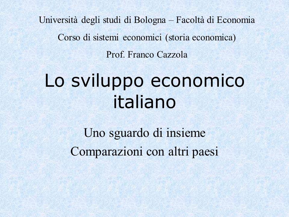 Lo sviluppo economico italiano Uno sguardo di insieme Comparazioni con altri paesi Università degli studi di Bologna – Facoltà di Economia Corso di sistemi economici (storia economica) Prof.