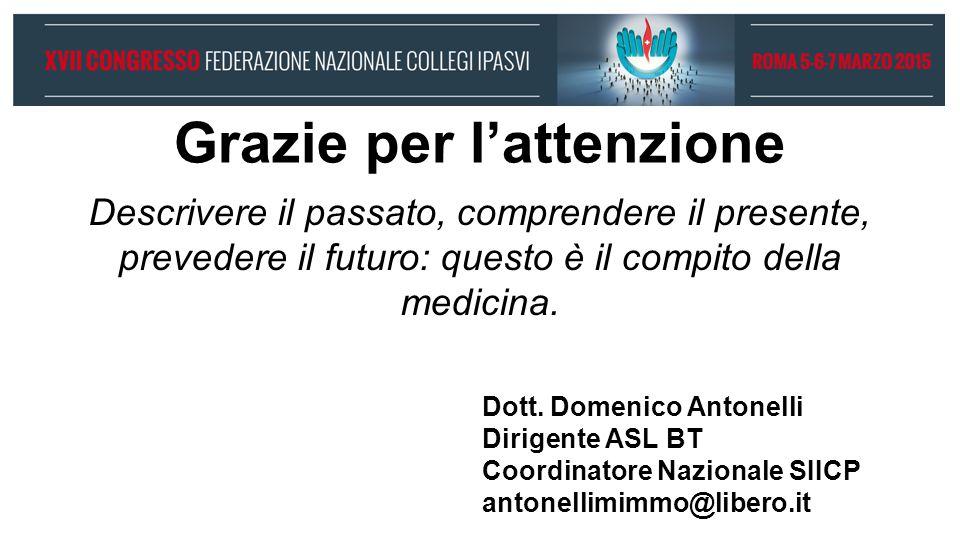 Grazie per l'attenzione Dott. Domenico Antonelli Dirigente ASL BT Coordinatore Nazionale SIICP antonellimimmo@libero.it Descrivere il passato, compren