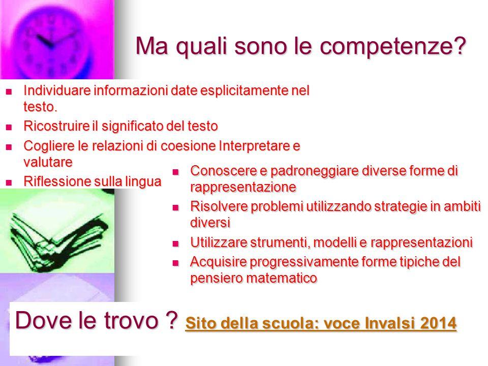 Ma quali sono le competenze. Individuare informazioni date esplicitamente nel testo.