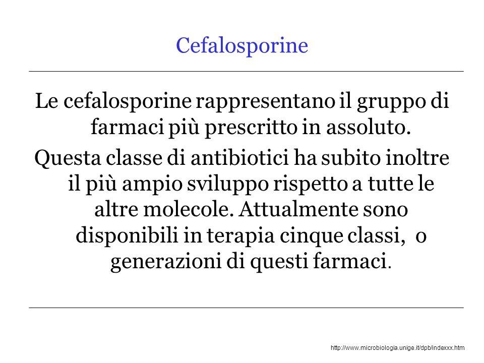 http://www.microbiologia.unige.it/dpb/indexxx.htm LE CEFALOSPORINE DI 4° GENERAZIONE cefodizime: potenza pari al cefotaxime cefpirome, cefepime: più resistenti alle cefalosporinasi e attivi su P.aeruginosa, anche se ceftazidime sembra ancora il più attivo cefepime, ottima attività sugli pneumococchi PEN-S e PEN-R (Terapia empirica delle polmoniti e meningiti)