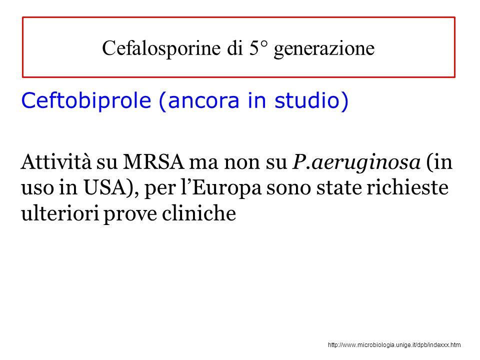 http://www.microbiologia.unige.it/dpb/indexxx.htm Cefalosporine di 5° generazione Ceftobiprole (ancora in studio) Attività su MRSA ma non su P.aeruginosa (in uso in USA), per l'Europa sono state richieste ulteriori prove cliniche