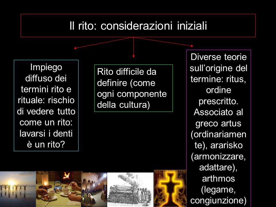 Il rito: considerazioni iniziali Impiego diffuso dei termini rito e rituale: rischio di vedere tutto come un rito: lavarsi i denti è un rito.