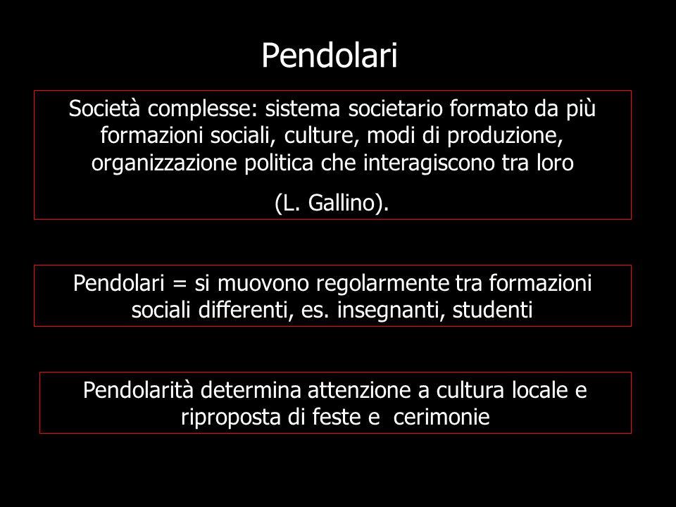 Pendolari Società complesse: sistema societario formato da più formazioni sociali, culture, modi di produzione, organizzazione politica che interagiscono tra loro (L.