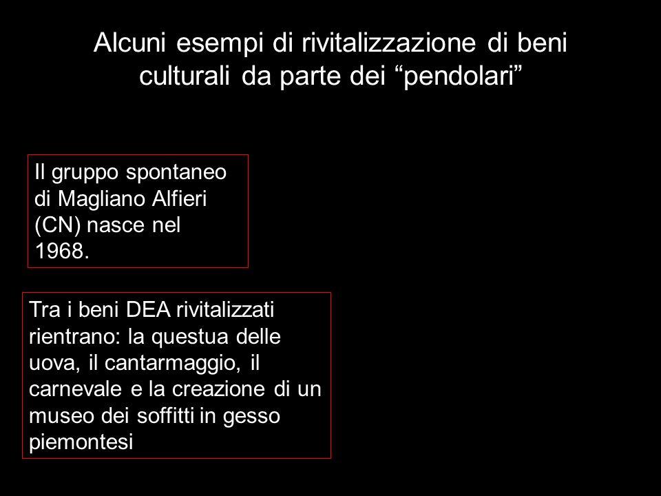 Alcuni esempi di rivitalizzazione di beni culturali da parte dei pendolari Il gruppo spontaneo di Magliano Alfieri (CN) nasce nel 1968.