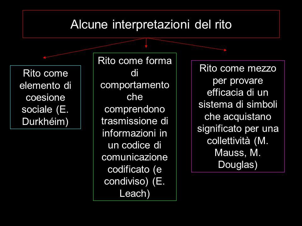 Alcune interpretazioni del rito Rito come elemento di coesione sociale (E.