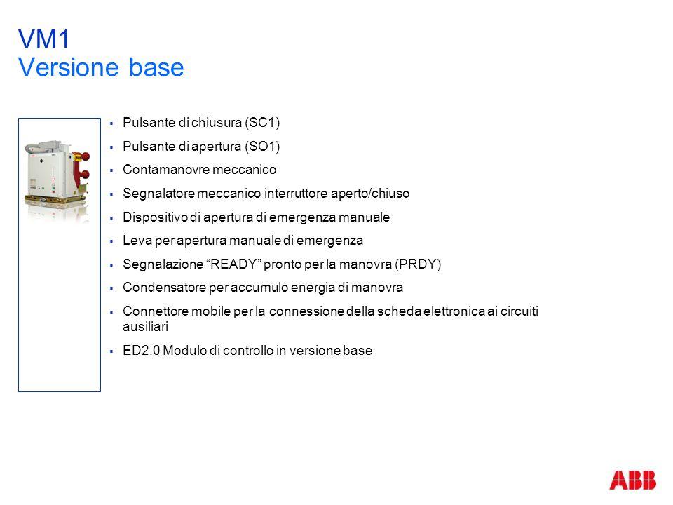 VM1 Versione base  Pulsante di chiusura (SC1)  Pulsante di apertura (SO1)  Contamanovre meccanico  Segnalatore meccanico interruttore aperto/chius