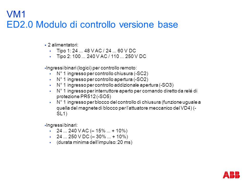 VM1 ED2.0 Modulo di controllo versione base  2 alimentatori:  Tipo 1: 24... 48 V AC / 24... 60 V DC  Tipo 2: 100... 240 V AC / 110... 250 V DC  In