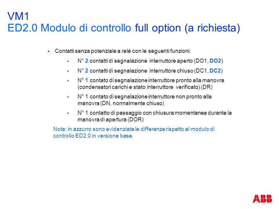 VM1 ED2.0 Modulo di controllo full option (a richiesta)  Contatti senza potenziale a relè con le seguenti funzioni:  N° 2 contatti di segnalazione i