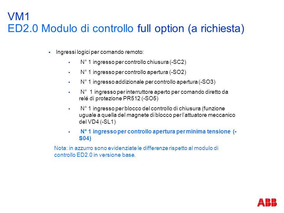 VM1 ED2.0 Modulo di controllo full option (a richiesta)  Ingressi logici per comando remoto:  N° 1 ingresso per controllo chiusura (-SC2)  N° 1 ing