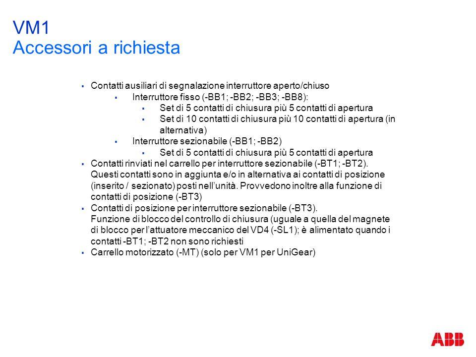 VM1 Accessori a richiesta  Contatti ausiliari di segnalazione interruttore aperto/chiuso  Interruttore fisso (-BB1; -BB2; -BB3; -BB8):  Set di 5 co