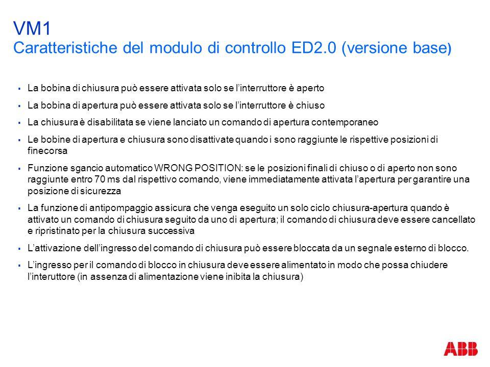 VM1 Caratteristiche del modulo di controllo ED2.0 (versione base )  La bobina di chiusura può essere attivata solo se l'interruttore è aperto  La bo
