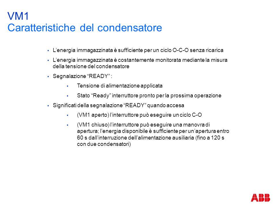 VM1 Caratteristiche del condensatore  L'energia immagazzinata è sufficiente per un ciclo O-C-O senza ricarica  L'energia immagazzinata è costantemen