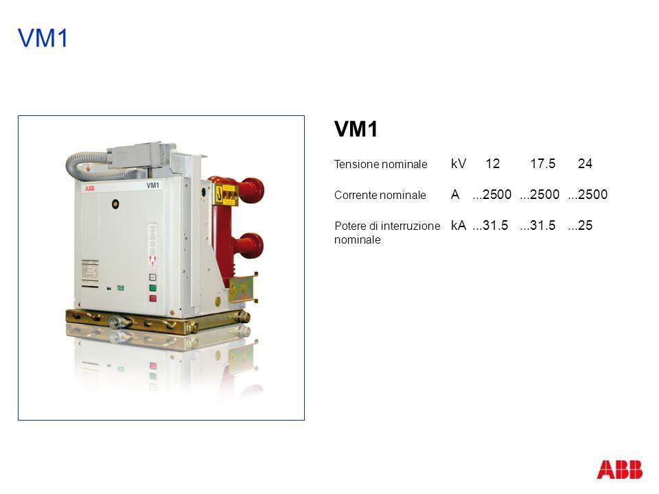 VM1 Tensione nominale kV12 17.5 24 Corrente nominale A...2500...2500...2500 Potere di interruzione kA...31.5...31.5...25 nominale