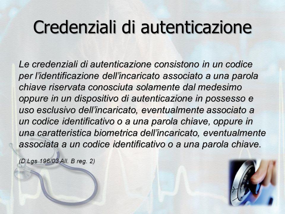 Credenziali di autenticazione Le credenziali di autenticazione consistono in un codice per l'identificazione dell'incaricato associato a una parola ch