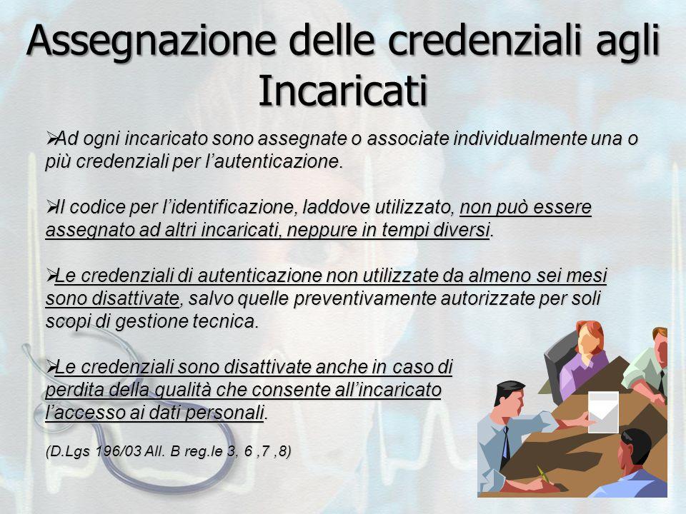 Assegnazione delle credenziali agli Incaricati  Ad ogni incaricato sono assegnate o associate individualmente una o più credenziali per l'autenticazi