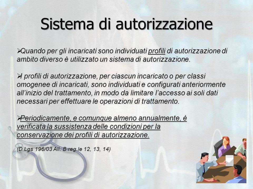Sistema di autorizzazione  Quando per gli incaricati sono individuati profili di autorizzazione di ambito diverso è utilizzato un sistema di autorizzazione.