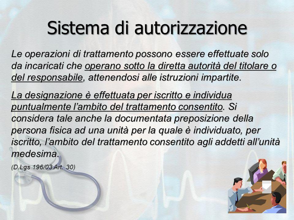 Sistema di autorizzazione Le operazioni di trattamento possono essere effettuate solo da incaricati che operano sotto la diretta autorità del titolare o del responsabile, attenendosi alle istruzioni impartite.