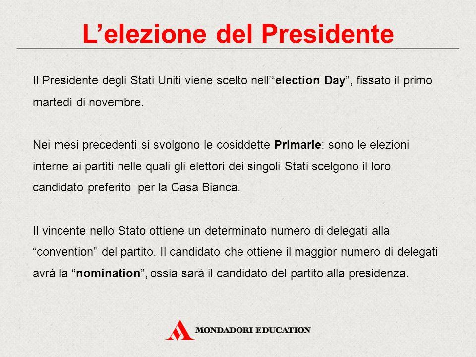L'elezione del Presidente Nelle elezioni di novembre il popolo designa i grandi Elettori collegati al candidato alla presidenza, in numero proporzionale alla popolazione di ciascuno Stato.