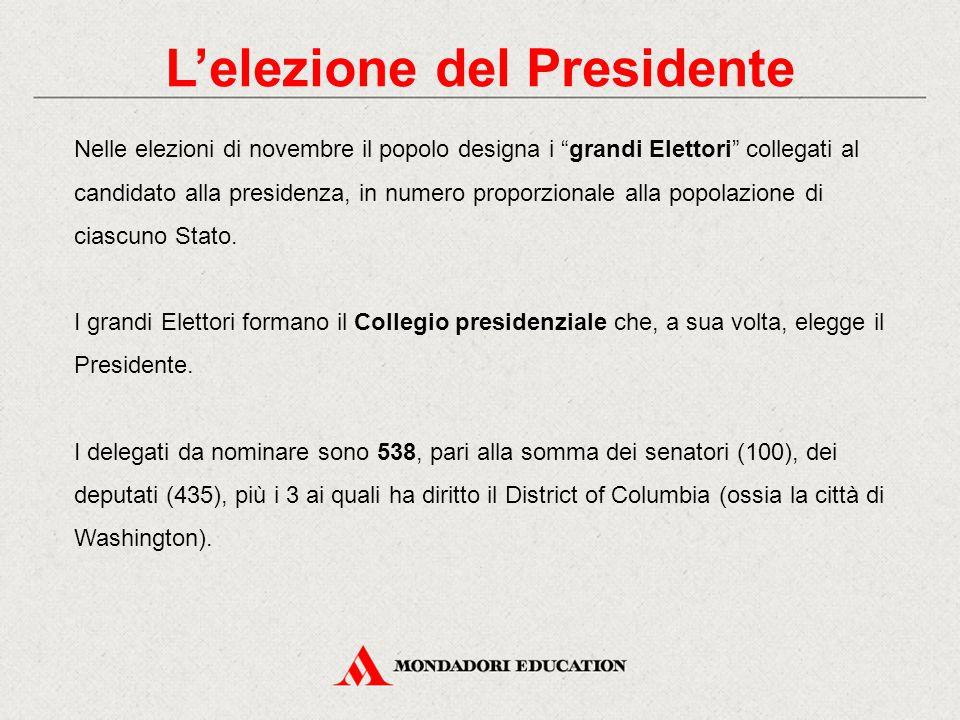 """L'elezione del Presidente Nelle elezioni di novembre il popolo designa i """"grandi Elettori"""" collegati al candidato alla presidenza, in numero proporzio"""